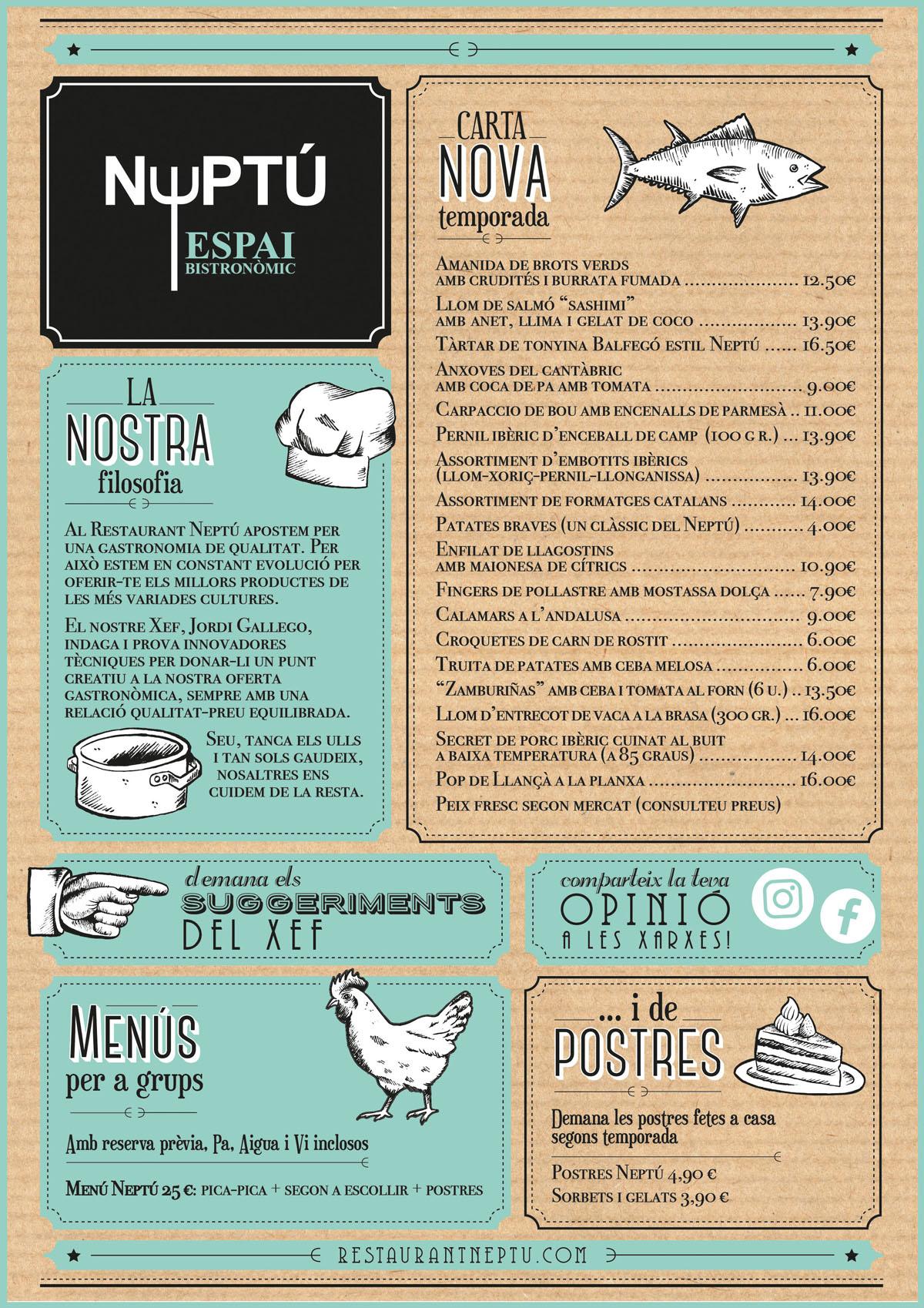 Carta del restaurant Neptú a Girona